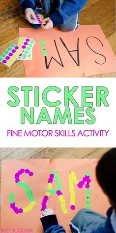 indoor activities for kids Sticker Names Toddler Activity: What an awesome indoor activity for toddlers. A great quick and easy activity that toddlers and preschoolers will love! Fine motor skills activity for toddlers. Babysitting Activities, Fine Motor Activities For Kids, Name Activities, Motor Skills Activities, Toddler Learning Activities, Infant Activities, Toddler Preschool, Children Activities, Family Activities