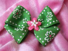 Green Ribbon Hair Bow by ang744 on Etsy, $3.00