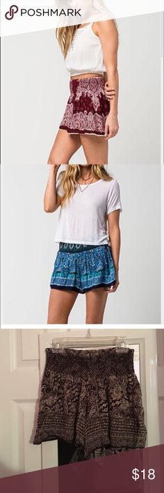 Cute flowy brown shorts patrons of peace Photos 1&2 are the same shorts different color just for styling tips! Shorts are brown and tan and perfect for casual or dressy occasions! Worn once and in perfect condition! Size small. Tilly's Shorts