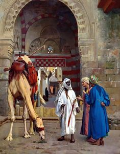 Arab Men And The Camel - Egyptian Art - Arabian Art - Handmade Oil Painting On Canvas - Malerei_Orient - Most Beautiful Paintings, Amazing Paintings, Jean Leon, Middle Eastern Art, Arabian Art, Islamic Paintings, Egypt Art, By Any Means Necessary, Fire Art