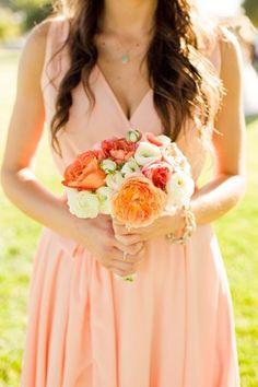 Peach Bridesmaids Dresses | photography by http://www.harrison-studio.com/