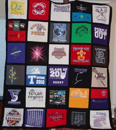 After a few false starts and alot of work.  My son's high school memory quilt is finished.