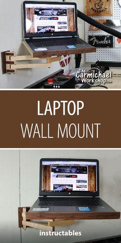 Laptop Wall Mount  #woodworking #workshop #organization