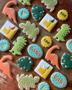 Fourth Birthday, Dinosaur Birthday Party, Birthday Party Themes, Birthday Cake, Dino Cake, Dinosaur Cake, Royal Icing Cookies, Sugar Cookies, Dinosaur Facts For Kids