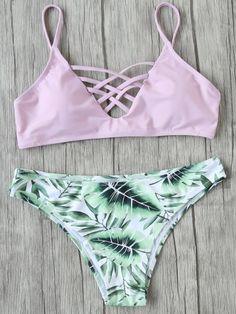 Shop Leaf Print Criss Cross Mix & Match Bikini Set online. SheIn offers Leaf Print Criss Cross Mix & Match Bikini Set & more to fit your fashionable needs.