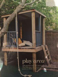 Garden Design For Kids Cubby house!Garden Design For Kids Cubby house! Backyard Playground, Backyard For Kids, Backyard Ideas, Kids House Garden, Pallet Playground, Backyard Designs, Cool Tree Houses, Pallet Tree Houses, Build A Playhouse