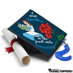 Disney Grad Cap Ideas - Grad Cap Decoration Ideas from Beauty and the Beast. Grad cap decorating kits by Tassel Toppers that last forever as the perfect graduation gift Disney Graduation Cap, Graduation Cap Toppers, Graduation Cap Designs, Graduation Cap Decoration, Graduation Diy, Graduation Cap Tassel, Cap Decorations, Beauty And The Beast, The Help