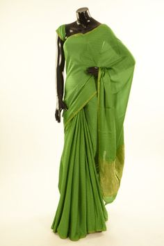 Mysore Crepe- crepe parrot green saree with blouse