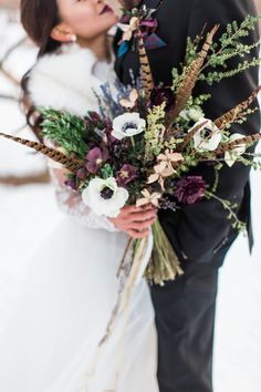 Feathers + flowers bouquet