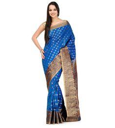 Turquoise Silk Jacquard Saree | Fabroop