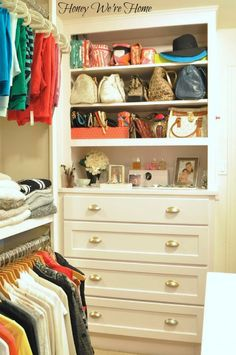 "Organized ""Boutique"" Closet // Honey We're Home, built-in shelves above the dresser for extra storage"