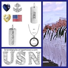 UNITED STATES NAVY Origami Owl Living Locket. Land of the free because of the brave. USN Sailor