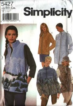 Simplicity Sewing Pattern 5427 Misses Size 6-16 Zipper Front Fleece Vest Jacket