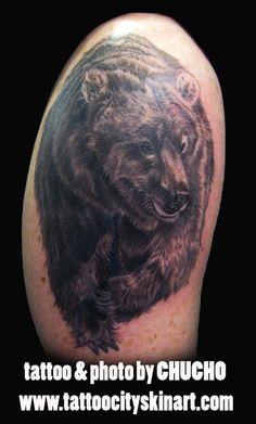 Black and Grey Bear tattoo. Tattoo by Chucho. Tattoo City, Lockport, IL #tattoo #Lockport