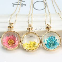 Floating Charm #Necklace with Dried Flower Glass, more styles and colors.