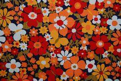 VINTAGE fab fabric orange mod daisy flowers by vintageinspiration