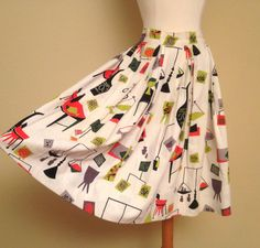 1960s Rockabilly Circle Skirt - Atomic Print Mid Century Tiki Pinup - Mad Men Fashion - Size XS Small - Libra Scales Skirt on Etsy, $62.00