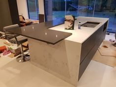 Kitchen of the week… Located in Stevenage, Herts, showcasing the Grigio Scuro Pura and Monaco Carrera - Rock and Co Granite Ltd Stevenage, Open Plan Living, Carrera, Monaco, Granite, Layout, Rock, Furniture, Kitchens