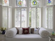 Our plantation shutters are made to measure for all interior windows. Our plantation shutters come in a range of different styles. Window Shutters Inside, Cafe Style Shutters, Cafe Shutters, Wooden Window Shutters, Interior Window Shutters, Interior Windows, Interior Exterior, Home Interior Design, Bay Window