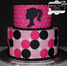 "6"" & 8"" cakes iced in buttercream w/fondant decorations. This cake was also ordered with 24 barbie silhouette cupcakes. TFL!"