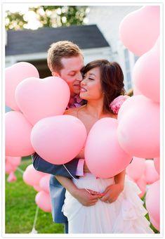pink heart wedding balloon