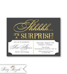 Men's Surprise Party Invitations, Birthday, Surprise Birthday Party Invites for a man, Birthday Dinner Invitation, 50 years old – invitation Surprise Party Invitations, Surprise Birthday Invitations, 50th Birthday Party, Invites, Man Birthday, Printable Invitations, Etsy, Elegant, Fine Stationery