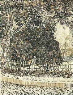 Vincent van Gogh: Public Garden with Fence  Arles: late April, 1888 (Amsterdam, Van Gogh Museum)
