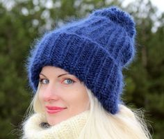 New Hand Knitted Mohair Hat Fuzzy Deep BLUE Winter Ski Thick Cap by SUPERTANYA #SuperTanya #Ski