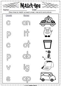 cvc Worksheets Onset   Rime Cut and Paste $ From the Pond $