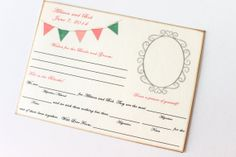 Wedding Guest Book Alternative Game - Set of 50 - Vintage Flag Banner Cards by TheTrendySparrow ($45)
