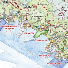 Map of the Cinque Terre - 5 towns.. starting with Monterossa al Mare, Vernazza, Corniglia, Manarola, Riomaggiore More