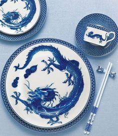Mottahedeh, Blue Dragon. Inspirada en los antiguos modelos de la porcelana china de exportación.