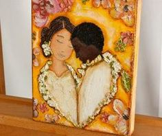 Wedding Couple- Original Mixed Media Painting on Canvas Folk art by FLOR LARIOS (8 x 10 Inches)) by DeeDeeBean