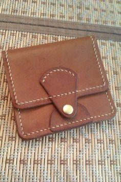 742355109023 Купить портмоне компакт - коричневый, однотонный, ручная прошивка, кожа  натуральная, кошелек, кожа натуральная