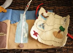 """I love this treasure map--maybe a red felt """"wax seal"""" with Velcro to close it?"""