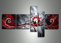 Modern Red Abstract Multiple Canvas Painting