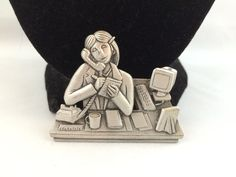 Vtg JJ Jonette Office Secretary Taking A Phone Message Desk Coffee Brooch | eBay