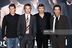 Matt Damon , Brad Pitt, George Clooney and Andy Garcia in London to promote ''Ocean's Eleven'' at the Dorcester.12/9/01. Photo by Dave Hogan/Mission/Getty Images