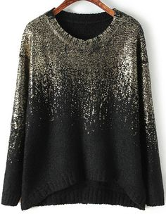 Black Gold Round Neck Vintage Loose Sweater 27.12
