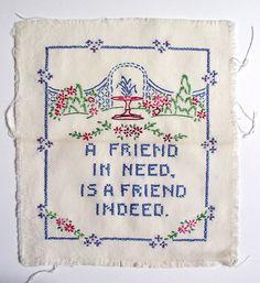 cross stitch samplers antique | Vintage Friend Linen Sampler Cross Stitch by BittyBolts on Etsy