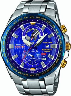9f233258836 Casio EFR-550RB-2AER Mens Edifice Red Bull World Time Silver Watch Reloj  Hora