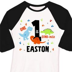 dinosaur birthday shirt 1st birthday DINO-mite dinosaur raglan Tshirt personalized childrens shirt by zoeysattic on Etsy https://www.etsy.com/listing/126813402/dinosaur-birthday-shirt-1st-birthday