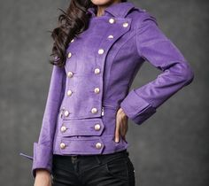 winter jacket (purple cashmere winter coats by YL1dress on Etsy)