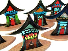 Spirit Houses~fused glass in wood base with tea light holder in back. Tammy Hudgeon Studio