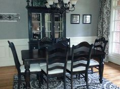 Love The Black Dining Room Furniture With The Grey Walls