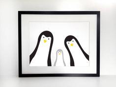 Penguin Family Selfie Print