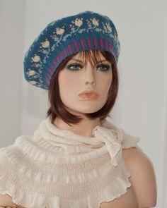 Hand knitted beret tam fair isle with the by worldofknitting ❀