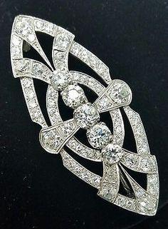 Vintage Platinum Art Deco 1920's Old European & Mine Cut Diamond Brooch 9.85 Ct