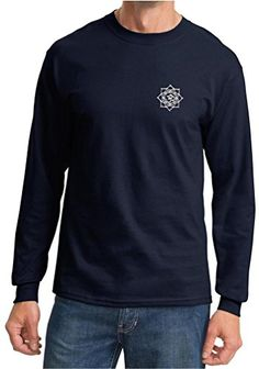 Mens Yoga White Lotus Om Patch Pocket Print Navy Long Sleeve Shirt 4XL *** Learn more by visiting the image link.