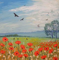 Poppy Breeze - acrylic on a 12 x 12 inch box canvas (SOLD)